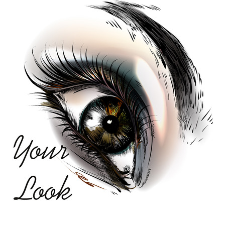 cor: Art fashion illustration with hand drawn realistic female eye beautiful look Illustration