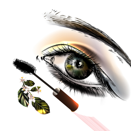 eye make up: Art fashion illustration with hand drawn realistic female eye with make up