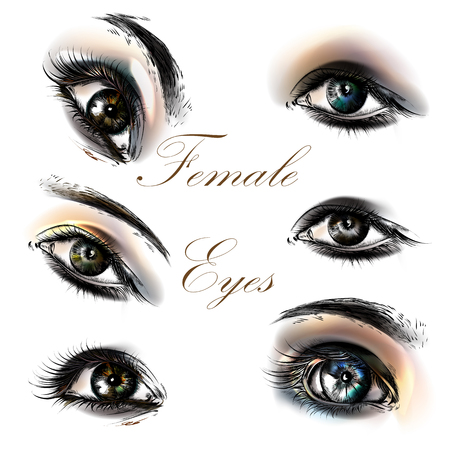 beautiful eyes: A collection or set of beautiful realistic female eyes for design