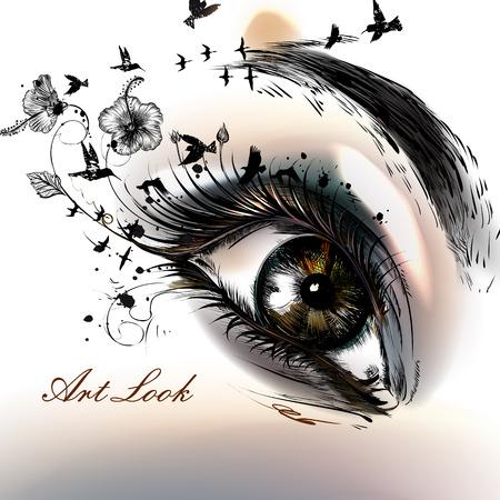 Ojo femenino de la ilustración de moda con el arte dibujado a mano aspecto bello arte