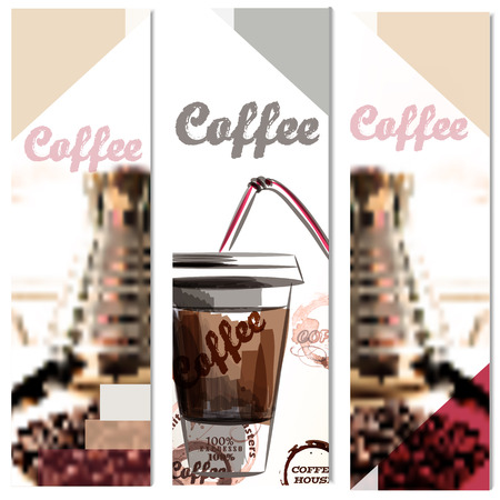 Coffee vertical brochures set with coffee grains cups coffee stains in abstract style