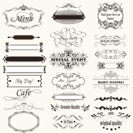 Colección de vectores de caligrafía florece y marcos para el diseño