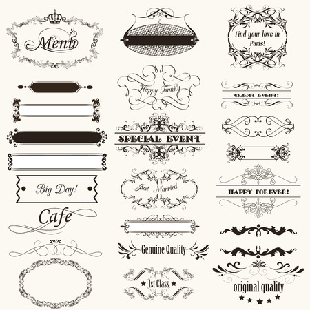 wedding frame: Collection of calligraphic vector flourishes and frames for design