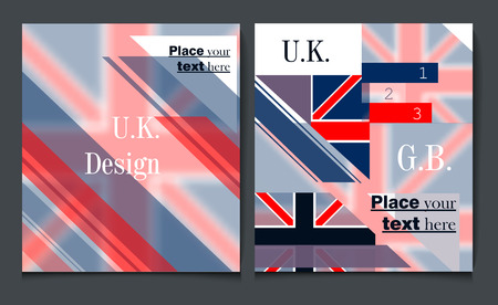 gb: Business report brochure flyer design template vector cover presentation abstract style with British flag blue white and red colors