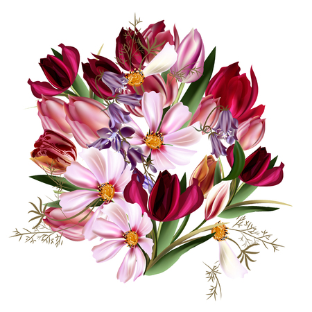 patrones de flores: Illustration with bouquet of flowers in realistic style cosmos bells tulips Vectores