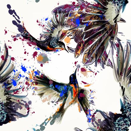 Belle seamless pattern avec des fleurs et des oiseaux de lys dans le style d'aquarelle peinte par des taches