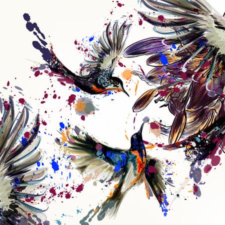Piękne ilustracji z kwiatów lilii i ptaków w stylu przypominającym akwarele malowane plamy