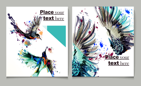 Business report brochure flyer design template vector cover presentation abstract style with watercolor birds from spots