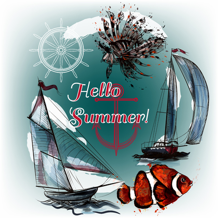 tripping: Hello summer background with ships fishes and ink spots sea theme