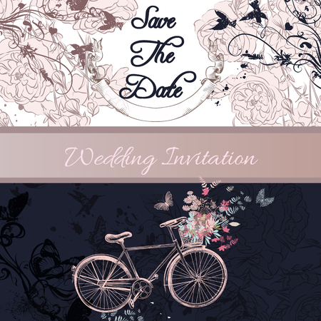 pedaling: Elegant wedding invitation or save the date card with bicycle and roses in vintage style
