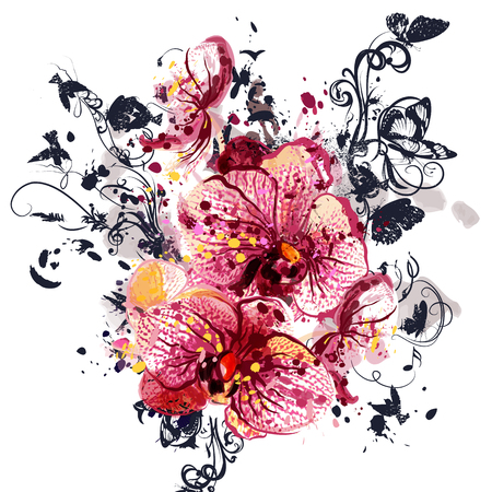 exotic flowers: background with orchid  flowers in watercolor style painted by spots Illustration