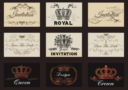 cor: A collection of vector invitation cards or templates in vintage style for elegant design of save the date cards wedding or any other Illustration