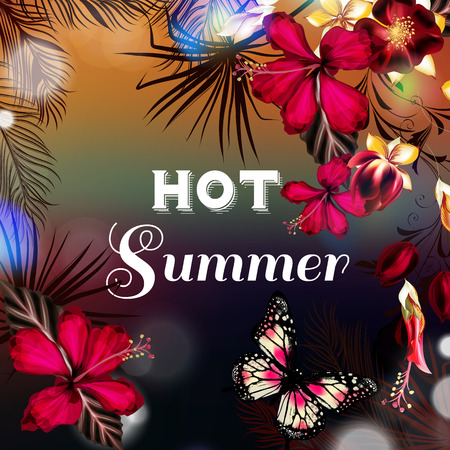 exotic flowers: Summer vector background or illustration with palm leafs light hibiscus flowers and signature hot  summer ideal for flyer party design T-shirt prints and banners Illustration