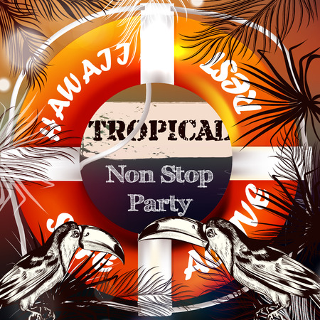 nonstop: Summer vector background or illustration with palm leafs light lifebuoy and signature tropical nonstop party ideal for flyer party design T-shirt prints and banners