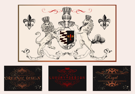 royal logo: A collection of vector branding templates in vintage royal luxury style for elegant retro design with shield lion horse and flourishes Illustration