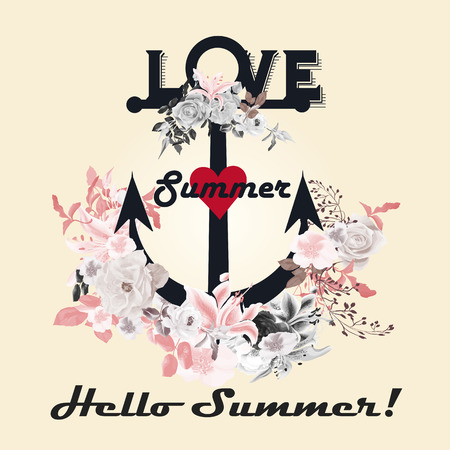 tripping: Fashion summer design in retro style with anchor flowers and red heart ideal for T-shirts print save the date cards wedding and other