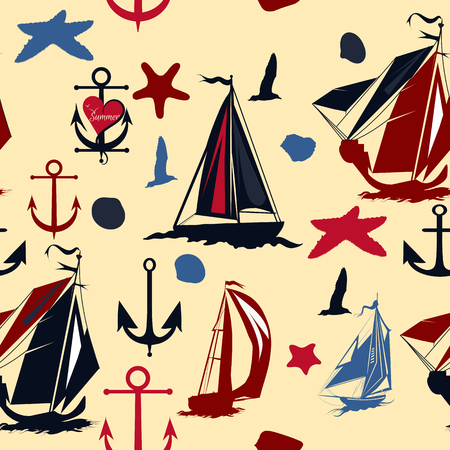 vintage document: Elegant vector seamless background with silhouettes of ships star fishes shells in vintage  style Illustration