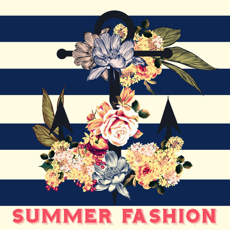 tripping: Fashion summer background illustration or save the date card with rose flowers and anchor hipster retro style