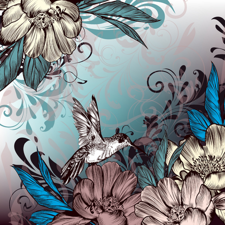 classic classical: Elegant vector background from ornaments hummingbird and flowers in Victorian style