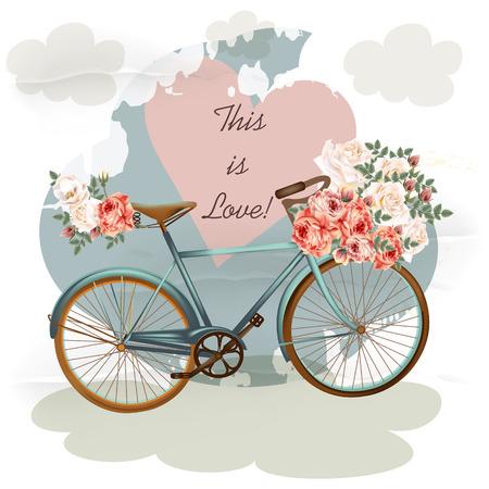 ilustración vectorial bonita con la bicicleta en color azul rosa rosa corazón de las flores y las nubes. Estilo vintage Ilustración de vector