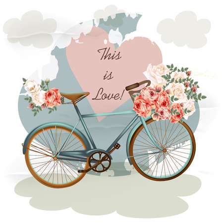 wedding invitation card: Pretty vector illustration with bicycle in blue color pink rose flowers heart and clouds. Vintage style