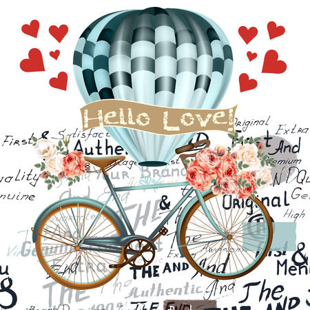 pink vintage: Fashion illustration save the date or Valentines Day card with air balloon bicycle and roses hello love in retro style