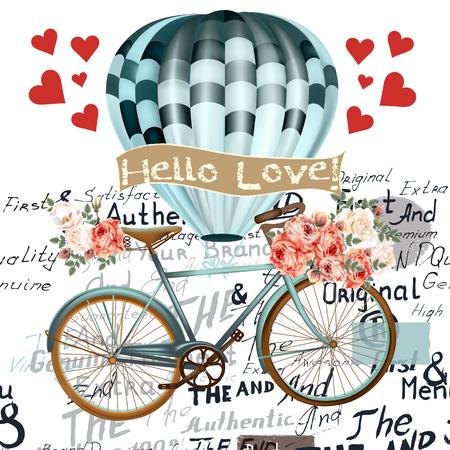 aniversario de boda: Ilustración de la manera ahorra la fecha o la tarjeta del día de San Valentín con el globo del aire de la bicicleta y rosas hola amor en estilo retro