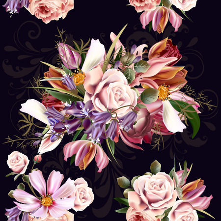 rose: Retro styled floral pattern with rose flowers and lilac can be used for wallpapers fabric T-shirt print invitations scrapbooking packaging