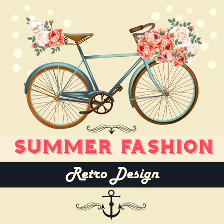 pedaling: Fashion summer background illustration or save the date card with rose flowers and bicycle hipster retro style