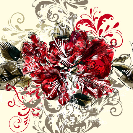 azalea: Beautiful seamless illustration with azalea  flowers and ornament in vintage style Illustration
