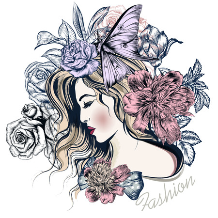 flirty: Fashion vector illustration with beautiful young long hared  woman and flowers on her head