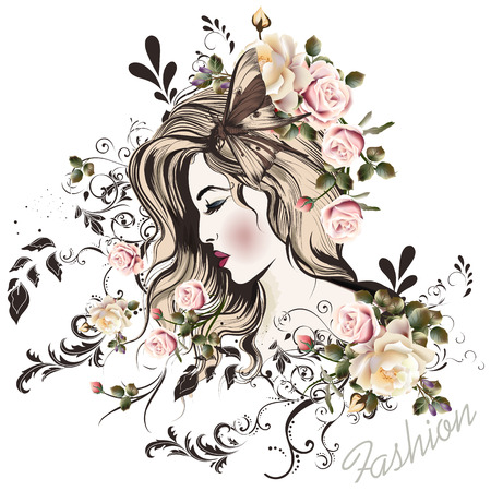 ilustración vectorial de la moda con hermosa mujer joven largo hared y flores color de rosa en la cabeza