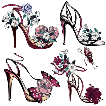 fashion collection: Beautiful collection of female shoes or sandals fashion vector se