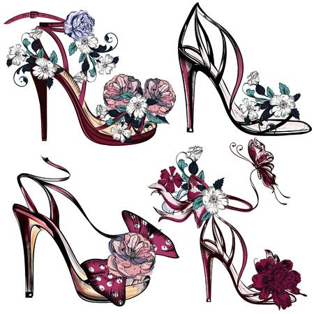 Hermosa colección de zapatos femeninos o vector de sandalias de moda en sí