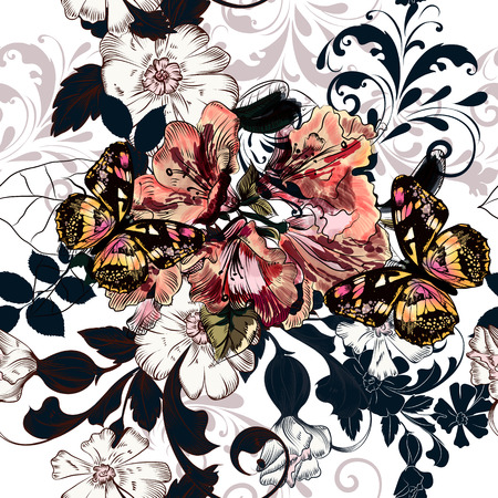 azalea: Beautiful seamless illustration with azalea  flowers and ornament in retro style
