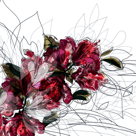 Floral illustration in watercolor abstract style with red flowers ideal for fashion prints and brochures design
