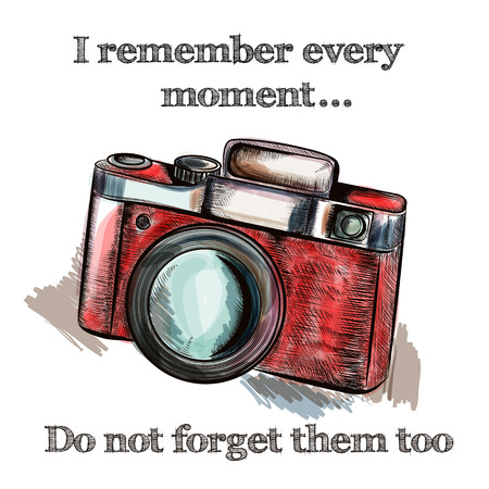 not forget: Fashion vector illustration with hand drawn old camera trendy background remember and do not forget moments. Hipster style. Ideal  for T-shirt prints