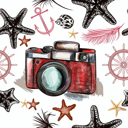 vintage drawing: Sea seamless vector background with camera anchor steering wheel and starfishes