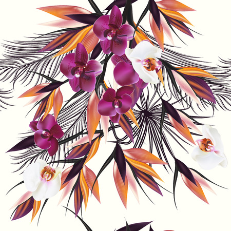 orchid: Beautiful seamless vector pattern with tropical plants orchids and palm leafs. Ideal for fabric prints patterns