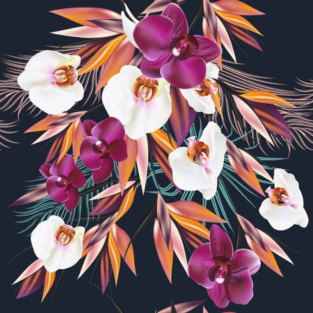 exotic flowers: Beautiful seamless vector pattern with tropical plants orchids and palm leafs. Ideal for fabric prints patterns deep colors