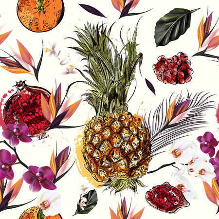 palm fruits: Tropical seamless pattern with fruits palm leafs and orchids