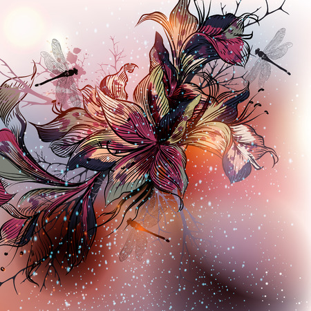 lily flowers: Beautiful vector background with lily flowers in engraved style