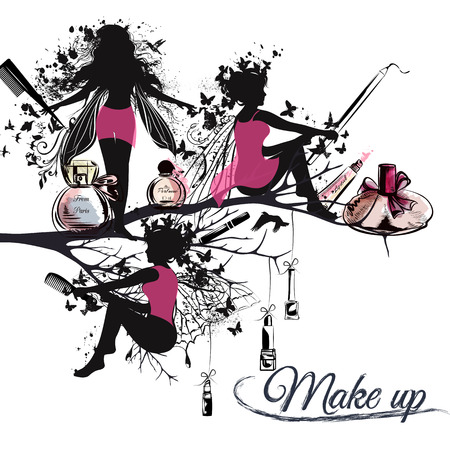 fragrance: Fashion vector illustration banner or background with silhouettes of fairy girls holding brushes lipstick perfume and liners. Make up concept. Ideal for advertising stylist posters designs