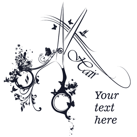 Fashion logotype design or hairdresser poster with stylist scissors hair and butterflies