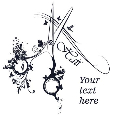 Fashion Logo-Design oder Friseur Poster mit Stylistin Schere Haar und Schmetterlinge
