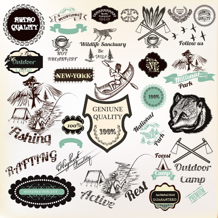 national park: Big collection of vector labels badges stickers for logotype and poster design premium quality, active rest, camping, national park and other. Vintage style