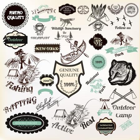 Gran colección de etiquetas de vectores insignias pegatinas para logotipo y diseño de carteles de primera calidad, descanso activo, camping, parque nacional y otros. Estilo vintage Logos