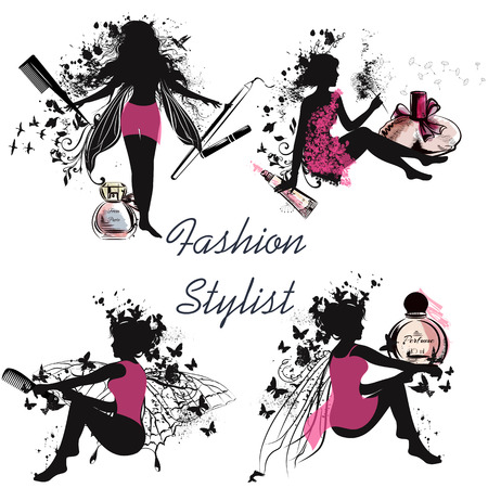 fashion collection: A collection of beautiful vector girl's silhouettes holding hairbrushes perfume lipstick and other. Fashion stylist concept