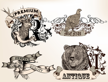 animals collection: Collection of high detailed badges, or labels with animals for design