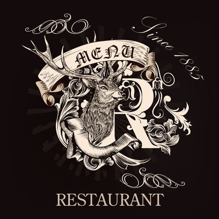 signatures: Elegant menu design for restaurant in royal style with hand drawn deer, flourishes, and signatures. Old fashioned